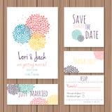 Wedding invitation card set. Royalty Free Stock Photos