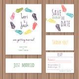 Wedding invitation card set. Stock Photo