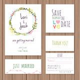 Wedding invitation card set. Royalty Free Stock Image