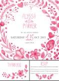 Wedding invitation card set.Watercolor pink floral decor Royalty Free Stock Photo