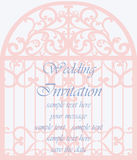 Wedding Invitation card in shape of a cage. With lace ornament. Beige color. Vector Royalty Free Stock Image