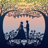 Wedding invitation card with silhouette bride and groom. Vector illustration Royalty Free Stock Images