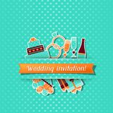 Wedding invitation card with stickers in retro Stock Photography