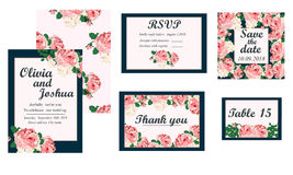 Wedding invitation card suite with daisy flower Stock Photo