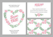 Wedding invitation card suite with daisy flower. Templates and pattern Royalty Free Stock Photography