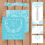 Wedding invitation card suite with daisy flower. Templates. Wedding set. Hand drawn menu card. Wedding invitation, save the date cards in scuba blue color Stock Photography
