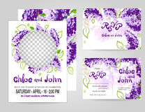Wedding invitation card suite with place for photo. Templates Royalty Free Stock Images