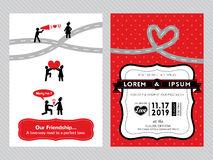 Wedding invitation card template. With cute groom and bride cartoon Royalty Free Stock Photography