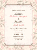 Wedding invitation card template. Floral design wedding invitation card template Royalty Free Stock Photo