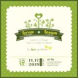 Wedding invitation card template. Green Garden Theme wedding invitation card template Royalty Free Stock Photo