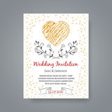 Wedding invitation card template with hand drawn Royalty Free Stock Images