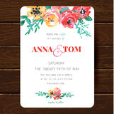 Wedding invitation card template. Hand drawn watercolor design with tender pink flowers and leaves Stock Image