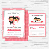 Wedding invitation card template with happy boy and girl vector illustration