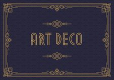 Wedding invitation card template horizontal art deco style with frame gold color Royalty Free Stock Images