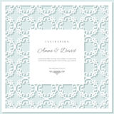 Wedding invitation card template with laser cutting frame. Pastel blue and white colors. Can be used for filigree envelope design royalty free illustration
