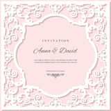 Wedding invitation card template with laser cutting frame. Pastel pink and white colors. Royalty Free Stock Image