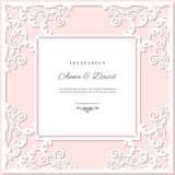 Wedding invitation card template with laser cutting frame. Pastel pink and white colors. Can be used for filigree envelope design Stock Photo