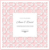 Wedding invitation card template with laser cutting frame. Pastel pink and white colors. Can be used for filigree envelope design Royalty Free Stock Photos