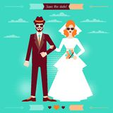 Wedding invitation card template in retro style.  Stock Images