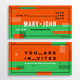 Wedding Invitation Card Template Ticket Shape. Stock Photo