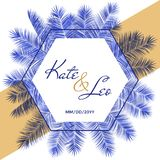 Wedding invitation card template, vector palm tree branches hexagon frame design with names and date.