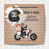 Wedding invitation card templates biker theme Royalty Free Stock Images
