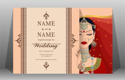 Wedding Invitation card templates . Indian wedding Invitation card templates with gold patterned and crystals on paper color Background royalty free illustration