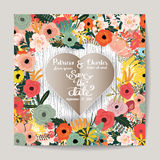 Wedding invitation card  templates, Paper cut style with flower. Vector illustration Royalty Free Stock Photos