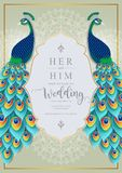 Wedding Invitation card templates . Wedding Invitation card templates with gold Peacock feathers patterned and crystals on paper color Background vector illustration