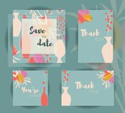 Wedding invitation card templates, wedding set with floral patte Stock Photos