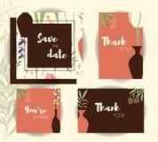 Wedding invitation card templates, wedding set with floral pattern Royalty Free Stock Photos