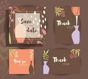 Wedding invitation card templates, wedding set with floral pattern Stock Photo