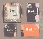 Wedding invitation card templates, wedding set with flowers Royalty Free Stock Photo