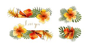 Wedding invitation card tropical floral orchid bouquet and lettering stock illustration