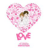 Wedding Invitation Card. Valentine Card. Vector and illustration Royalty Free Stock Photos