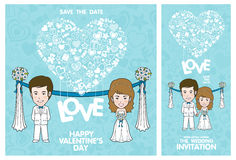 Wedding Invitation Card. Valentine Card. Vector and illustration Royalty Free Stock Image