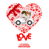 Wedding Invitation Card. Valentine Card. Vector and illustration Royalty Free Stock Photography