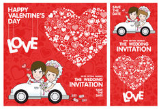 Wedding Invitation Card. Valentine Card. Vector and illustration Stock Images