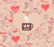 Wedding invitation, card for Valentine's Day with bird couple in cup Royalty Free Stock Image