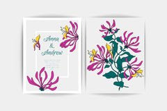 Wedding invitation card. Vector composition of pink flowers illustration. Save the date. Floral background. Wedding invitation card. Vector composition of pink Stock Photos