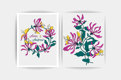 Wedding invitation card. Vector composition of pink flowers illustration. Save the date. Floral background. Wedding invitation card. Vector composition of pink Royalty Free Stock Photography
