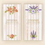 Wedding invitation card. Vector invitation card with elegant flower elements with text on wood background. Beautiful templates for invitation, gift or greeting Stock Images