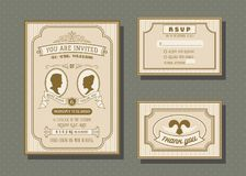Wedding invitation card vector template set. Retro and vintage style Stock Images