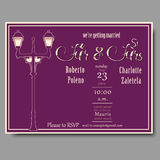 Wedding invitation card vector template for wedding couples with rsvp. Stock Photos