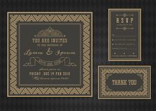 Wedding invitation card vector template . Stock Image
