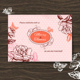 Wedding invitation card. Vintage illustration Royalty Free Stock Images