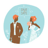 Wedding invitation card. Vintage illustration Royalty Free Stock Photos