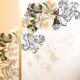 Wedding invitation card in vintage style. Vector cute  wedding card roses in vintage style for design Stock Photo