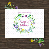 Wedding invitation card with watercolor floral Stock Photography