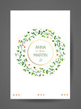 Wedding invitation card with watercolor floral branches. Royalty Free Stock Photo